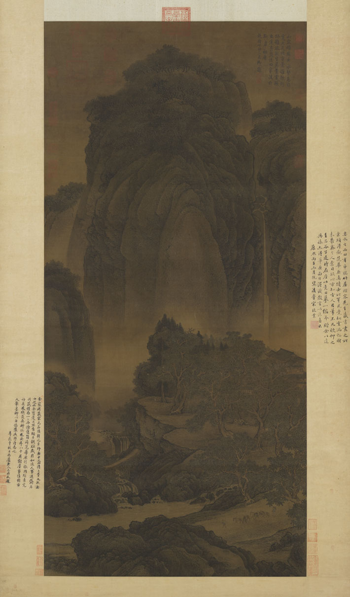 A painting analysis of travelers among mountains and streams by fan kuan