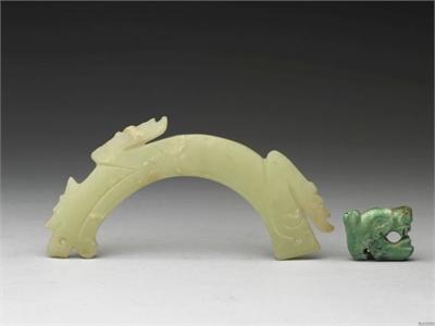 綠松石首玉虎 一對