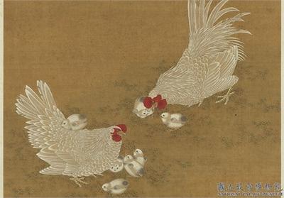 明宣宗畫子母雞圖 軸
