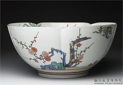 日本 有田窯 柿右衛門類型 五彩花口碗