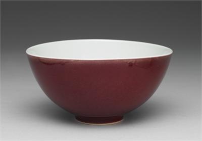 清 雍正 紅釉碗