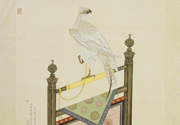 清 楊大章 畫白鷹