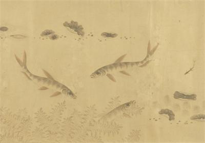 傳 宋 劉寀 群魚戲荇