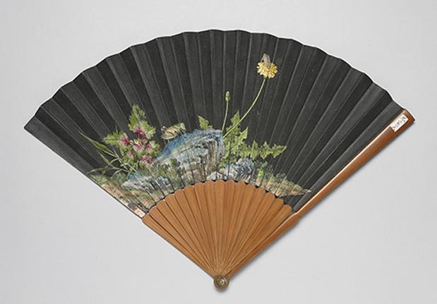 清 郎世寧、張若靄 書畫合璧竹骨摺扇