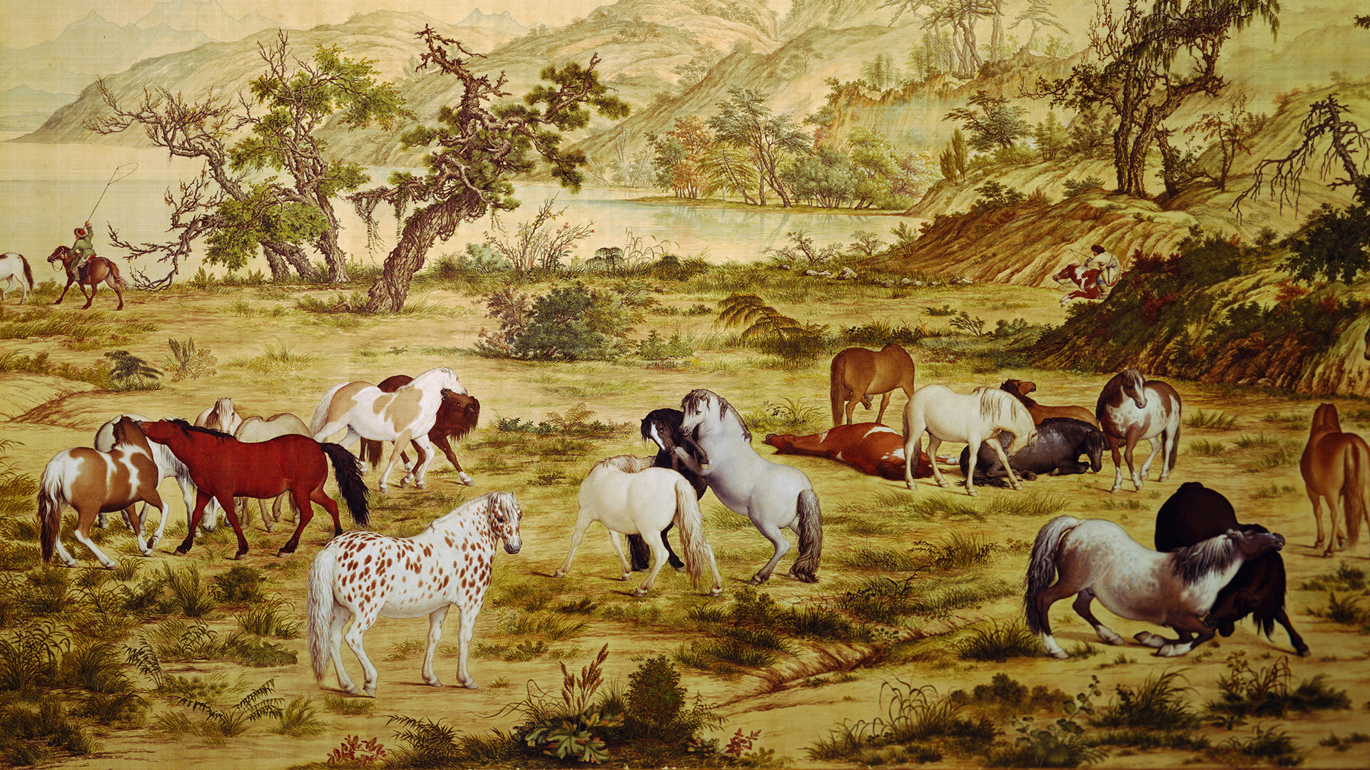 Painting Anime One Hundred Horses