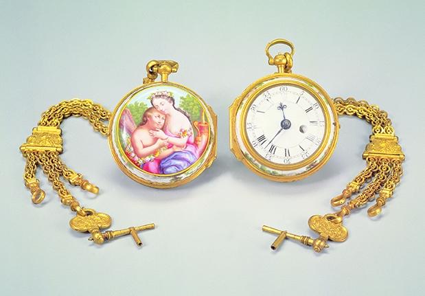 銅鍍金畫琺瑯錶兩件