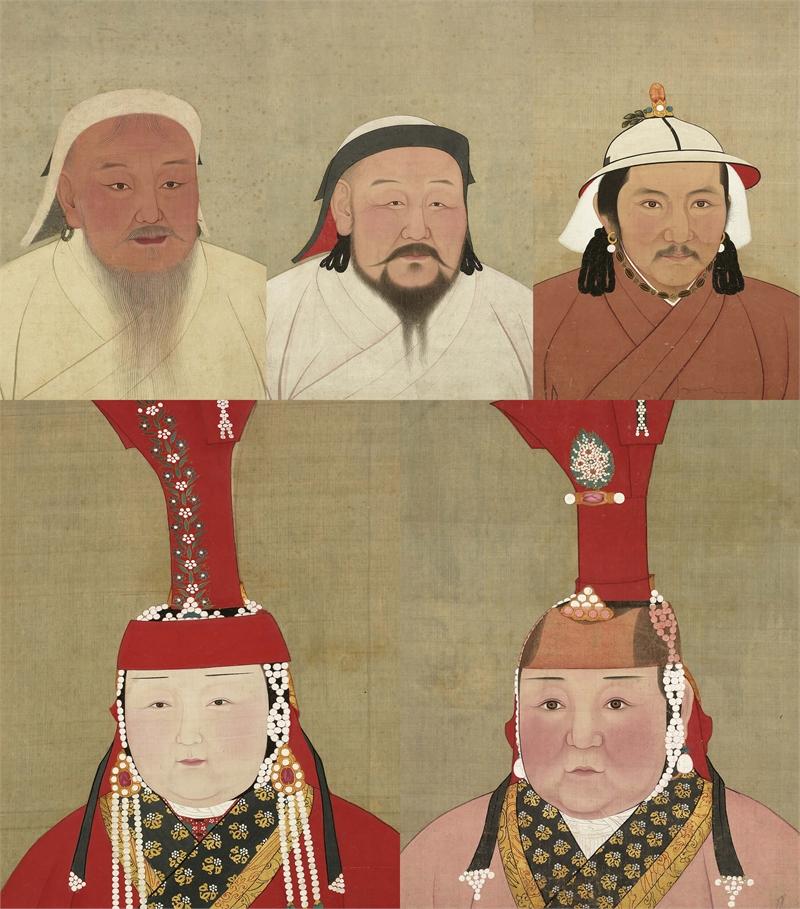 Portraits of Emperors T'ai-tsu (Chinggis Khan), Shih-tsu (Khubilai Khan), and Wen-tsung (Tegtemur), Portraits of Khubilai Khan's Consort (Chabi) and Shun-tsung's Consort (Targi)