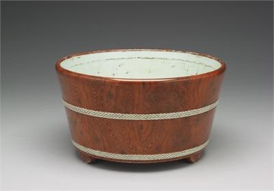 清 雍正 倣木紋花盆