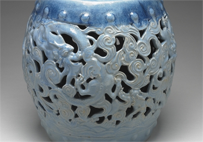 清 鈞藍釉鏤空龍紋座墩
