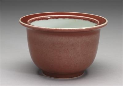 清 雍正窯 紅釉花盆