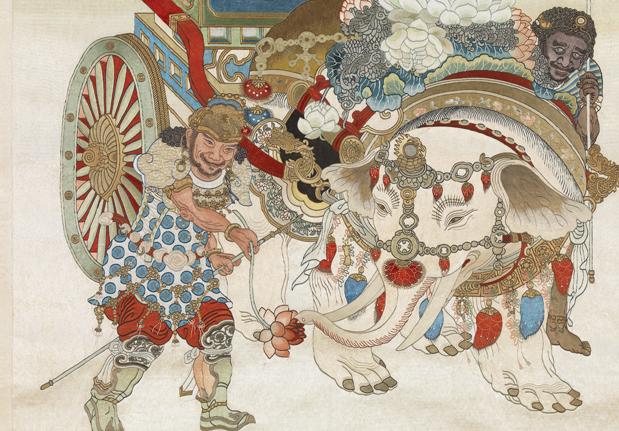 清繡線佛像(九)菩賢菩薩 軸