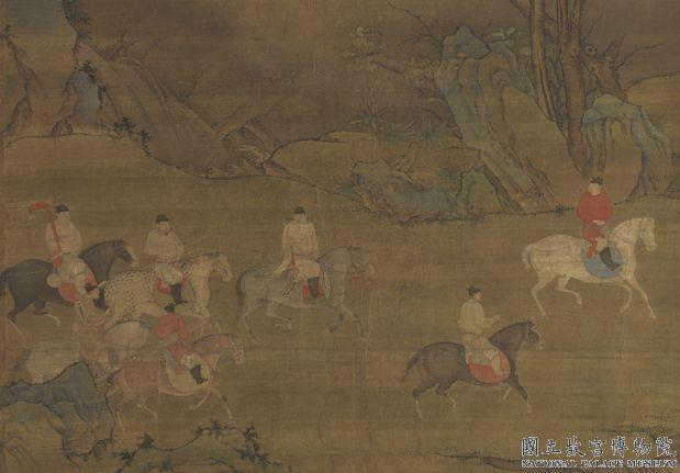 唐人春郊遊騎圖 軸