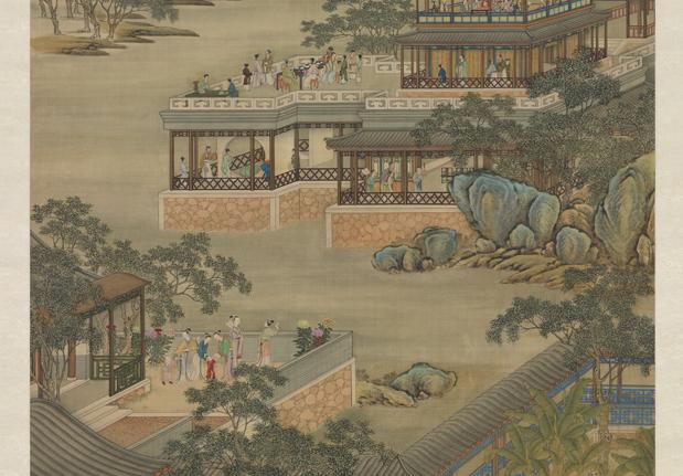 清畫院畫十二月月令圖八月 軸