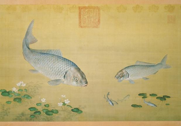 清 郎世寧 畫魚藻