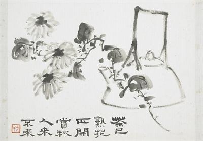 民國 張大千 菊花