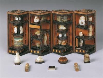 Round Bamboo-Veneered Curio Box with Lotus Blossom Decor (Containing 27 Curios)