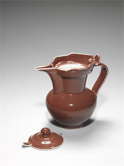 Monk's cap ewer with ruby red glaze