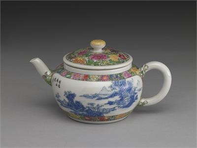 Blue Enamel Landscape Teapot
