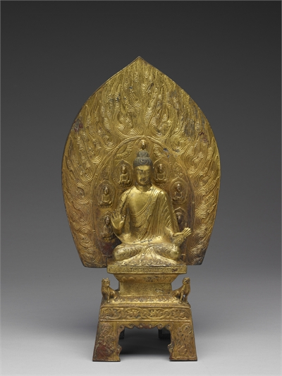 Gilt Bronze Shakyamuni Buddha and Stand