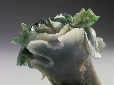 Jadeite Cabbage, in a cloisonne flowerpot
