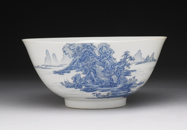 Enameled Bowl with Landscape Motif