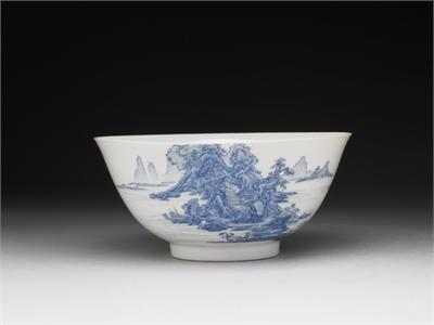 Enameled Bowl with Landscape Motif