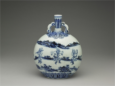 Blue-and-white Flat Vase with Figures