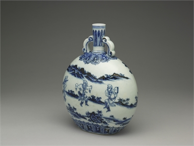 Flask with ruyi handles and figures decoration in underglaze blue