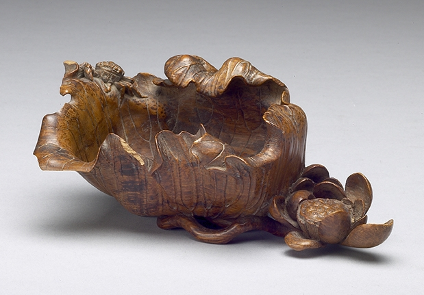 Carved Bamboo Brush Washer in the Shape of a Lotus Leaf