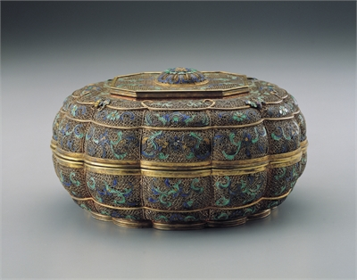 Gilt Champleve Enameled Container