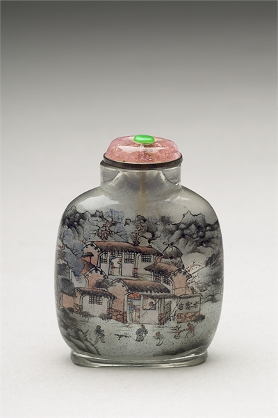 Glass Snuff Bottle with Interior Painting