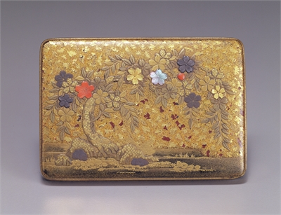 Small Rectangular Painted Lacquer Container