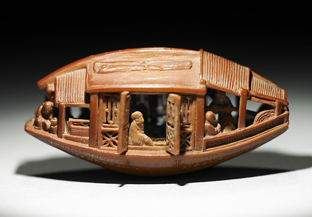 Carved Olive-stone Boat