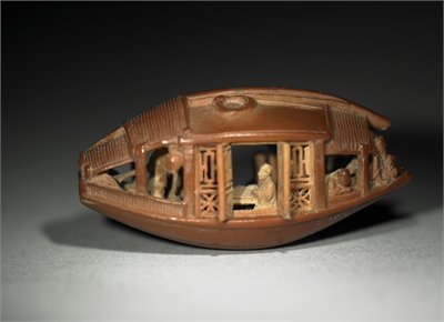 Ganlan Olive Stone Miniature Boat with the Ode to the Red Cliff Carved on the Bottom