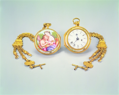 Two Gilt Gold Pocket Watches with Painted Enamelware
