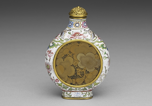 Copper Snuff Bottle with Plum Blossoms in Painted Enamelware