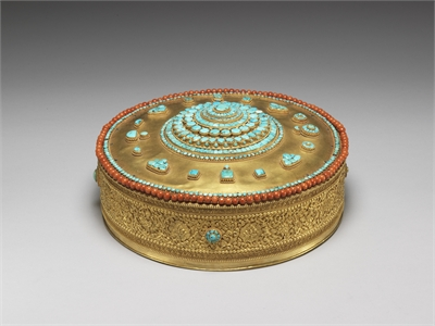 Gilt Mandala Inlaid with Turquoise and Coral