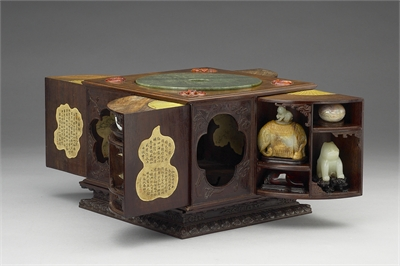 Square Sandalwood Curio Case (Containing 32 Curios)