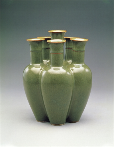 Six Conjoined Vases in Tea Dust Glaze