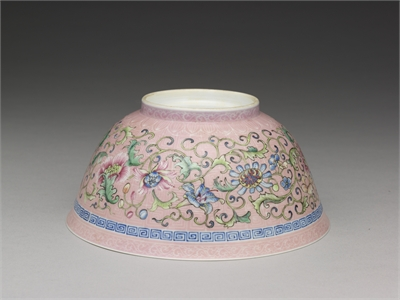 Bowl with Indian lotus Design on a Pink Brocade Ground