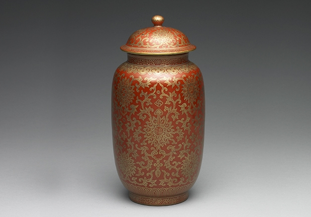 Jar with Myriad Blessings in Gold on a Red Ground