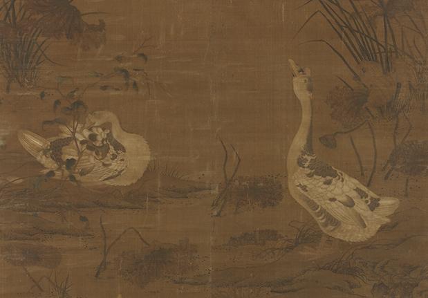 Pair of Wild Geese on an Autumn Islet