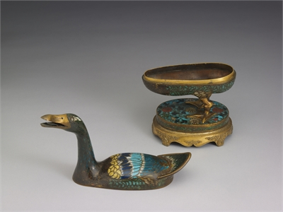 Cloisonne censer in the form of a wild duck