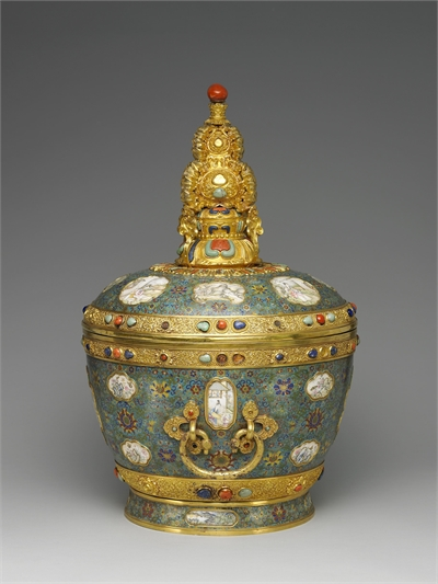 Cloisonne and painted enamel butter tea jar