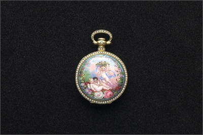 「播喴」畫琺瑯鑲珠懷錶