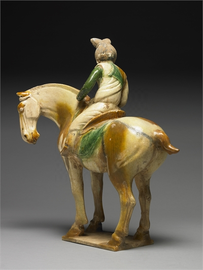 Pottery figure of ladies playing polo game in sancai tri-color glaze, Tang dynasty (AD618-907)